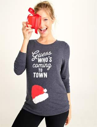 GUESS Motherhood Maternity Who's Coming To Town Christmas Maternity Sweatshirt