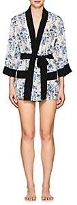 Barneys New York Women's Floral Silk Short Robe-Rr Blue White Floral