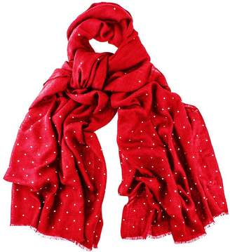 Black Red Swarovski Crystal Scattered Wrap in Cashmere and Silk