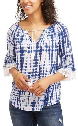 Moda Women's Floral Bell Sleeve Gauze Top