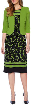 MAYA BROOKE Maya Brooke 3/4 Sleeve Jacket Dress