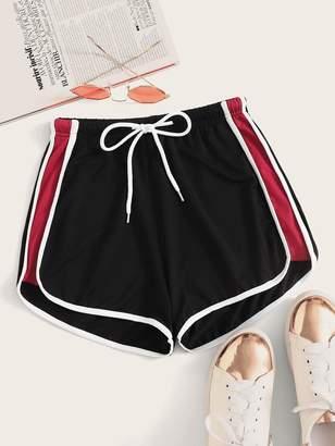 Shein Side Striped Drawstring Waist Track Shorts