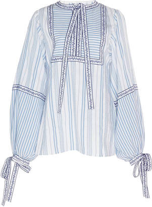 Andrew Gn Tie-Detailed Striped Voile Blouse
