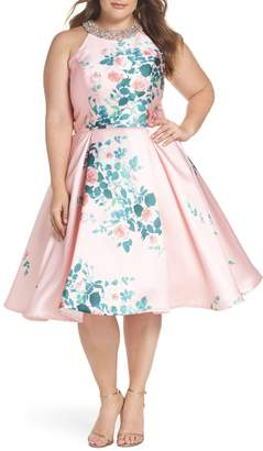 Mac Duggal Floral Print Fit & Flare Dress
