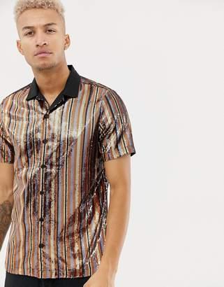 Asos DESIGN regular fit sequin stripe shirt in bronze