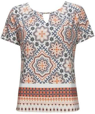 Wallis Orange Tile Print Top
