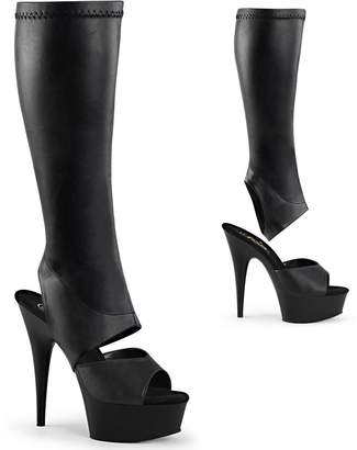 Pleaser USA Women's Delight 2022 Knee High Boots, Black Faux Leather, 10 M