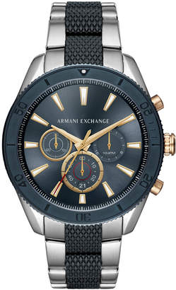Armani Exchange Men Chronograph Two-Tone Stainless Steel Bracelet Watch 46mm
