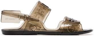 Off-White black zip tie jelly sandals