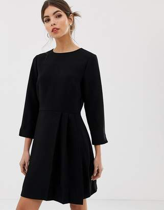 Warehouse shift dress with pleat detail in black