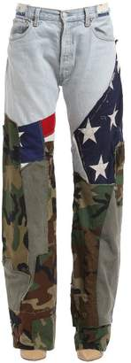 Printed Flag & Army Flared Jeans