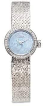Dior La D de Dior Diamond, Mother-Of-Pearl & Stainless Steel Bracelet Watch
