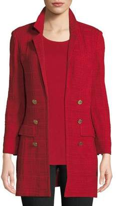 Misook Textured Knit Jacket w/ Gold Button Detail, Plus Size