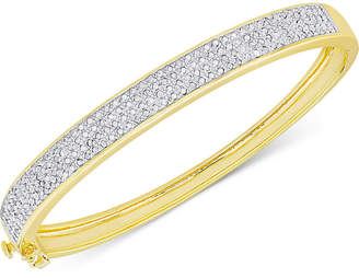 Townsend Victoria Diamond Pave Hinged Bangle Bracelet (1 ct. t.w.) in Sterling Silver or 18k Yellow or Rose Gold over Sterling Silver