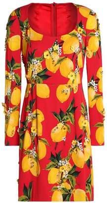 Dolce & Gabbana Embellished Printed Silk-Blend Mini Dress