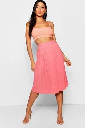boohoo Pleated Woven Crepe Midi Skirt