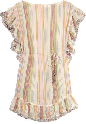 Zimmermann - Tropicale Fringed Striped Cotton-blend Dress - Ecru $580 thestylecure.com