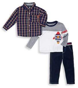 Nannette Little Boy's Three-Piece Plaid Shirt, Astronaut Top & Pants Set