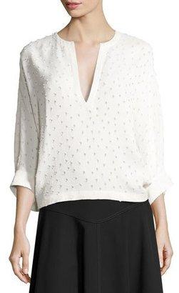 Derek Lam Swiss-Dot Batwing-Sleeve Blouse, White $1,595 thestylecure.com