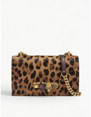 Alexander McQueen Jewelled leopard print leather satchel