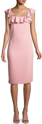 Shoshanna Abril Ruffle-Trim Sheath Dress