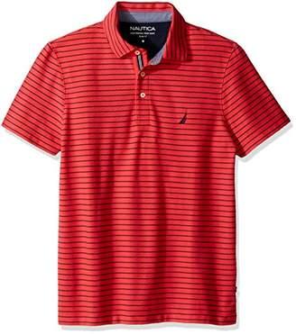 Nautica Men's Slim Fit Short Sleeve Striped Polo Shirt