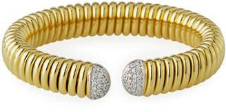 Milani Alberto 18k Gold Tubogas Wide Cuff Bracelet w/ Diamonds, 0.69tcw