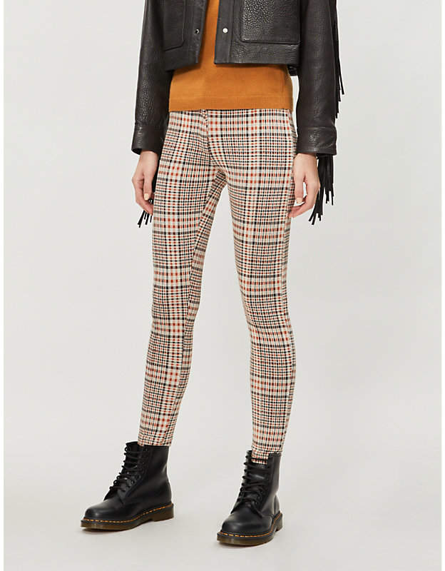 Carnaby high-rise plaid stretch-knit skinny trousers