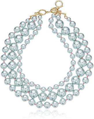 Carolee Gray Rose Three Row Necklace