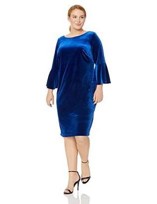 Calvin Klein Women's Plus Size Bell Sleeve Velvet Sheath CD7V133E