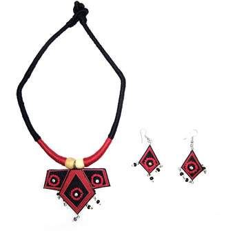 India Meets India Jute Necklace Earring Set Handmade Jewellery Choker Necklace Earrings