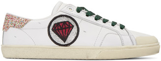 Saint Laurent Off-White Court Classic Patches Sneakers $595 thestylecure.com