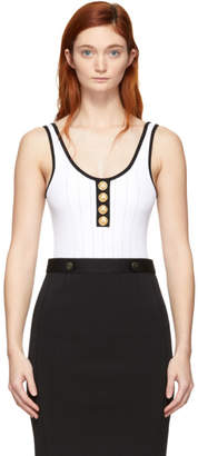 Balmain White and Black Knit Button Bodysuit
