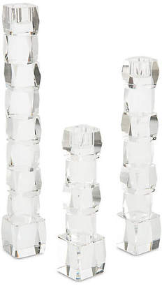 John-Richard Collection Set of 3 Crystal Candleholders - Clear
