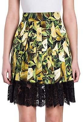 Dolce & Gabbana Dolce& Gabbana Dolce& Gabbana Women's Lace-Hem Pear Print Skirt