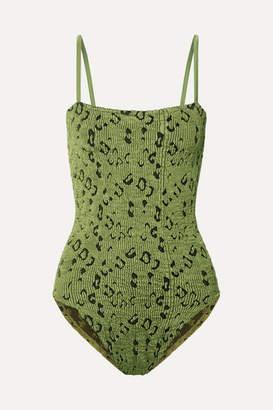 Hunza G Maria Leopard-print Seersucker Swimsuit - Army green