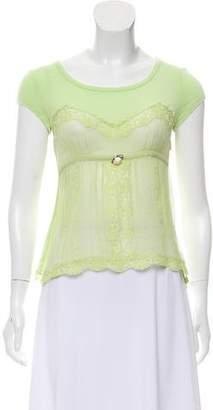Dolce & Gabbana Silk Lace-Trimmed Top