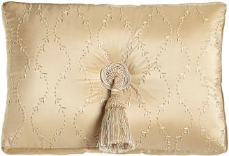 "Austin Horn Classics 13"" x 18"" Embroidered Silk Pillow with Center Tassel"