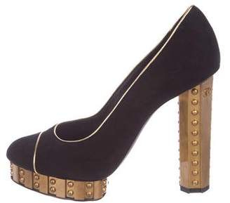 Chanel CC Suede Platform Pumps