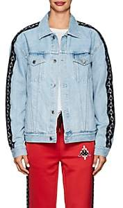 Marcelo Burlon County of Milan Women's Logo-Jacquard-Trimmed Denim Jacket-Denim Light Wash Black