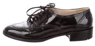 Chanel Patent Leather Round-Toe Oxfords