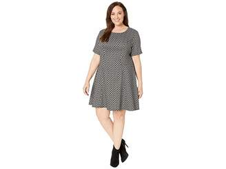 Karen Kane Plus Plus Size Short Sleeve Flare Hem Dress