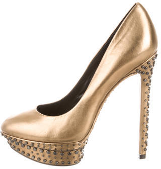 B Brian Atwood Stud Embellished Metallic Pumps $175 thestylecure.com