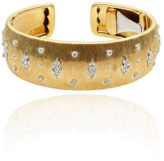 Buccellati 18K Yellow & White Gold Diamonds Cuff Bracelet