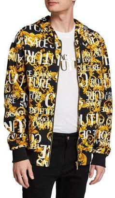 Versace Men's Baroque-Print Zip-Front Hoodie Sweatshirt