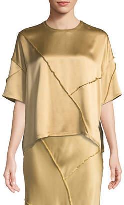 Vince Raw-Edge Silk Short-Sleeve Tee