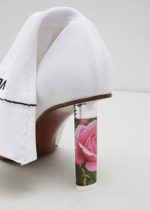 Vetements white/ roses (heel) socks ankle boots $1,530 thestylecure.com