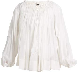 Joseph Drawstring-neck cotton-blend blouse