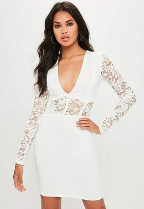 Missguided White Long Sleeve Binding Bodycon Dress