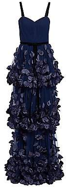 Marchesa Women's 3D Floral Appliqué Tiered Gown